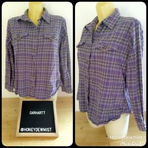 CARHARTT Purple and Green Plaid Checks Flannel Top